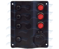 Panel 3 Interruptores Negro con Leds y Mechero